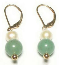 Natural Light Green Jade Real White Pearl 18KGP Leverback Hook Women Earrings