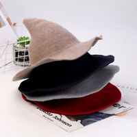 Women's Witch Hat Foldable Costume Sharp Large Brim Crochet Warm Winter Cap