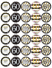30x 60th Birthday Black Gold Cupcake Toppers Edible Wafer Paper Fairy
