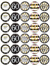 30x 60th Birthday Black Gold Cupcake Toppers Edible Wafer Paper Fairy Toppers