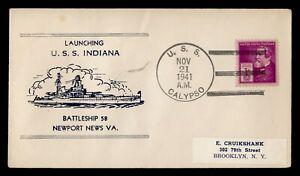 DR WHO 1941 NAVAL USS CALYPSO SHIP CANCEL USS INDIANA LAUNCHING C243152