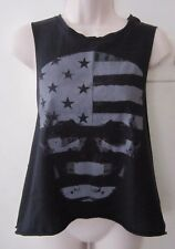 OTHERS FOLLOW SKULL FLAG BOXY LOOSE CROPPED BLACK TANK ~ Size S / SMALL