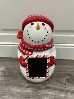 CHERYL'S CHRISTMAS COOKIE JAR SNOWMAN Chalkboard Slate Lid EUC Holiday Winter