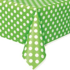 """54""""x108"""" Green White Polka Dot Spot Style Party Disposable Plastic Table Cover"""