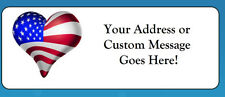 60 Personalized USA Flag Heart Americana Return Address Labels