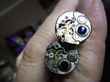 lovely pair steampunk watch movement cufflinks fathers day gift  best man blue r
