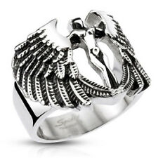 Edelstahl Ring Erzengel Engel Flügel Göttin Biker Rocker Gothic Silber Silver
