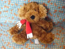 "CHAD VALLEY BROWN  PUPPY DOG RED SCARF PLUSH SOFT  HUG TOY 11"" APPROX VGC"