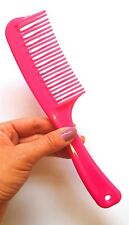 Double Comb Pink Wide Long Tooth Hair Comb Professional Flexible Duralon UK NEW