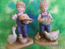Collectible Retired Homco Denim Days Figurine Debbie & Danny Gathering Eggs 1509
