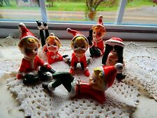 Set 6 Playful Vintage Blonde Hair Pixies Elves Christmas Ceramic Figurines JAPAN