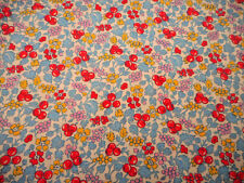 1930s Reproduction Fabric By The Yard Blue Pink Yellow Red Floral White Cotton