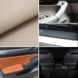 DIY Beige/Tan Leather Steering Wheel Door Handle Armrest Dashboard Panel Cover