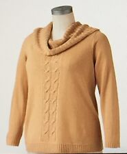 "SAG HARBOR Women's Lurex Cowlneck Sweater""LIGHT GOLD""Size 1X New With Tags"