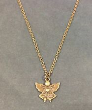 Angels Watching Over Me Pendant Necklace - Bronze