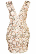 Topshop by Rare Pink Sequin Embellished Wrap Bodycon Dress UK 6 EURO 34 US 2