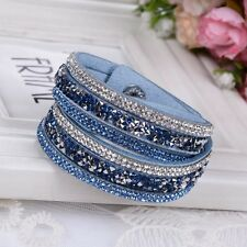 2016 ELEGANT LEATHER Slake BRACELET MADE WITH SWAROVSKI CRYSTALS  LIGHT BLUE NEW