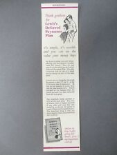 Vintage BOOKMARK Lewis's Department Stores Deferred Payments Plan Advertising