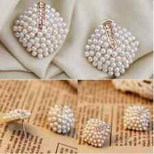 Fashion Temperament Geometry Girl Pearl Evening Party Wedding Earrings Stud
