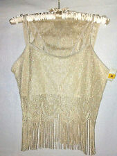 TR BENTLEY FRINGE TOP PANTY CAMI SET Tan Silver Metallic Embroidered Lace NWT M