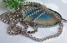 coole schöne Halskette mit Strass Bikinikette Körperkette Kette  Metall Silber