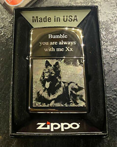 PERSONALISED ZIPPO WINDPROOF WITH PHOTO & OR WORDS ENGRAVED (HIGH POLISH CHROME)