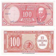Chile 10 Centesimos en 100 PESOS ND (1960-1961) P-127a Billetes Unc