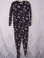 Kat Nap Skull & Crossbones Snow Footed Pajamas Pink Black White One Piece Size L