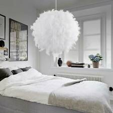 Chandelier Feather Lamp Shade LED Ceiling Pendant Light White w/Light Bulb Decor