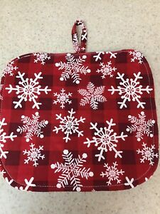 Pot Holder / Loop to Hang - White Snowflakes on a Red Plaid Background