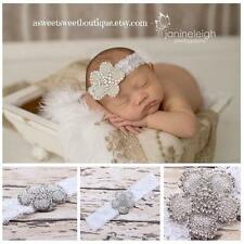 Baby Girl Lace Pearl Rhinestone Hair Band Crystal Headband