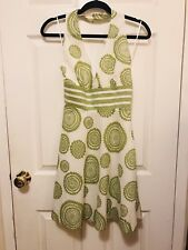Women's 100% cotton green and white halter dress - Size S - brand new - weddings