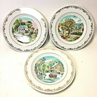 "(3) Vintage Currier and Ives Four Seasons 6 1/2"" Plates Summer, Autumn, Winter"