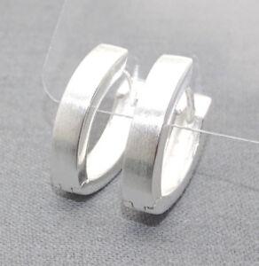Klapp-Creolen Damen Ohrringe spitz-oval 925 Sterling Silber poliert matt + Etui