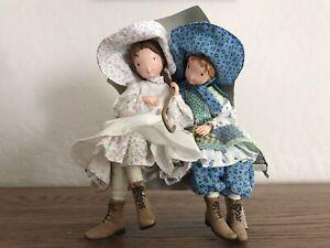 Holly Hobbie Dolls On Bench With Unbrella