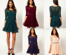 Lace Dresses for Women with Belt All Seasons
