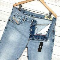 ⭐ Mens Diesel Mharky Slim-skinny fit denim jeans wash 080AF Italy size W32 L32