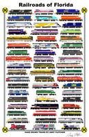 """Railroads of Florida 11""""x17"""" Railroad Poster by Andy Fletcher signed"""