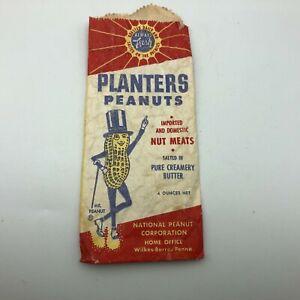 HTF Version Vtg Mr Peanut Planters Peanuts Paper Bag As Is Advertising  XY4