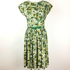 Vintage 60s 70s Westover Walker Green Yellow Floral Bow Belted Pleated Dress