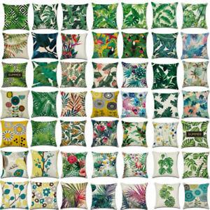 Tropical Plant Floral Leaves Cushion Cover Waist Throw Pillow Case Car Home Deco