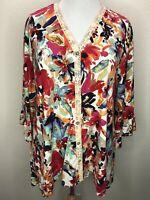LOGO Lori Goldstein L Soft Multicolor 3/4 Sleeve Tunic Top