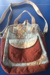 Handmade Map Design Fully Lined Quilted Tote/Shoulder Bag/Messenger Bag - NEW