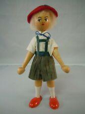 Vintage Polish or Austria Swiss Alpine Wooden Peg Doll With Lederhosen Wood Toy