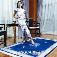 YILONG 4'x6' Modern Handmade Silk Area Rug Blue Chinese Art Deco Silk Carpet