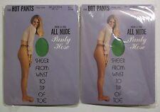 Vtg lot of 2 HOT PANTS Mem-o-ree All Nude PANTY HOSE Kelly Green Nylon Petit NEW