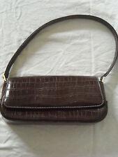Liz Claiborne Accessories Brown Faux Croc Baguette Handbag Purse