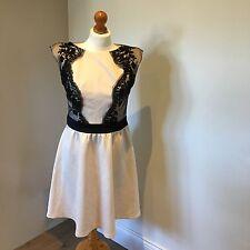 WOMENS CREAM & BLACK LACE LITTLE MISTRESS DRESS PROM PARTY - Size 14 BNWT