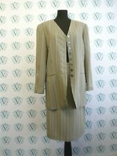 Vintage Planet soft beige taupe striped smart jacket and skirt suit size 12-14