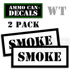 SMOKE Ammo Decal Sticker bullet Can Box SMOKE Gun safety Hunting Label 2 Pack WT